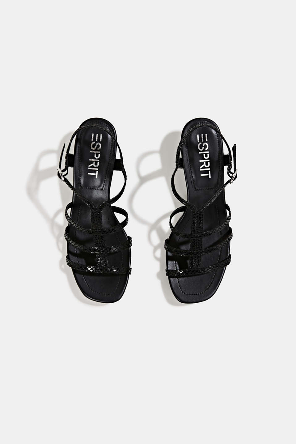 Shiny sandals in faux crocodile skin leather, BLACK, detail image number 1