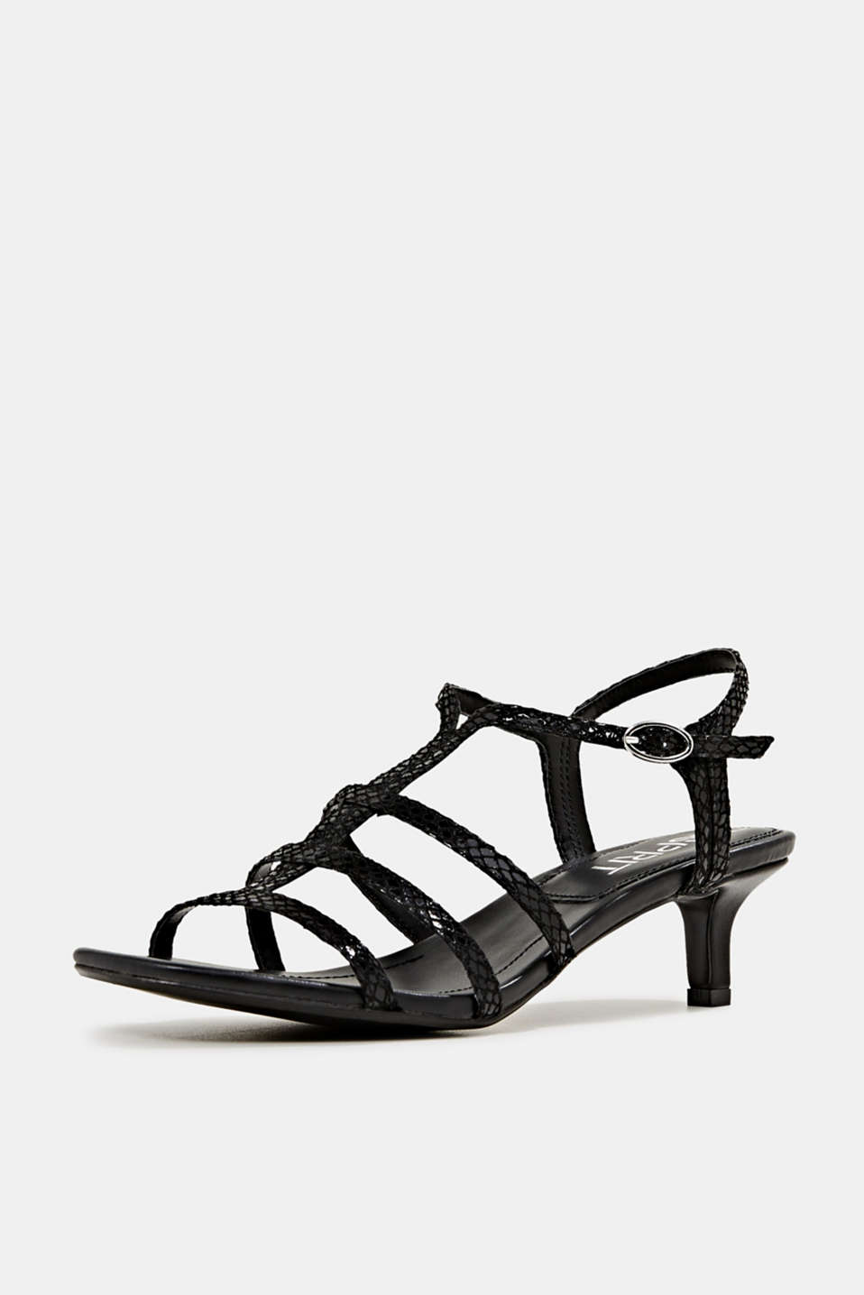 Shiny sandals in faux crocodile skin leather, BLACK, detail image number 2