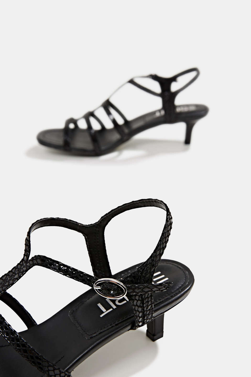 Shiny sandals in faux crocodile skin leather, BLACK, detail image number 5