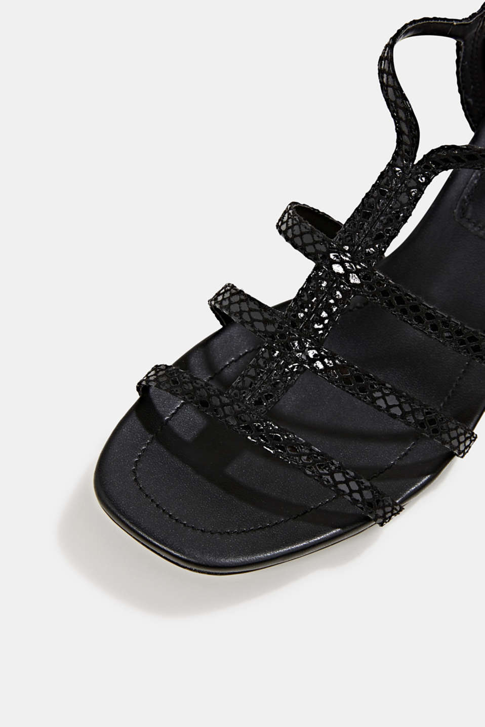 Shiny sandals in faux crocodile skin leather, BLACK, detail image number 4