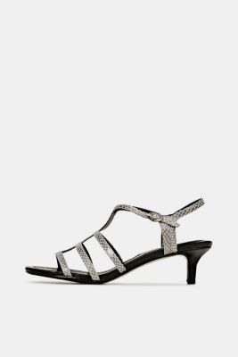 Shiny sandals in faux crocodile skin leather, GREY, detail