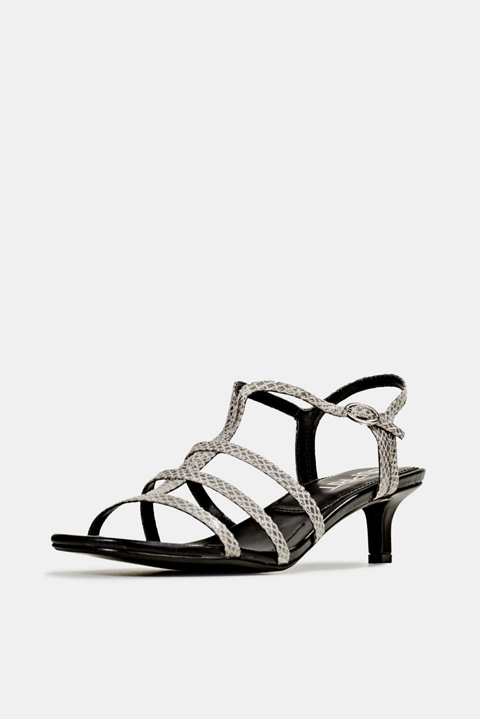 Shiny sandals in faux crocodile skin leather, GREY, detail image number 2