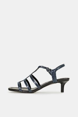 Shiny sandals in faux crocodile skin leather, NAVY, detail