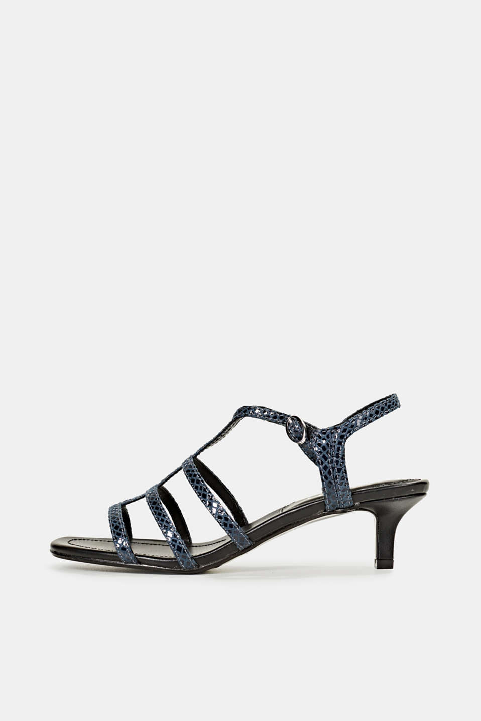 Shiny sandals in faux crocodile skin leather, NAVY, detail image number 0