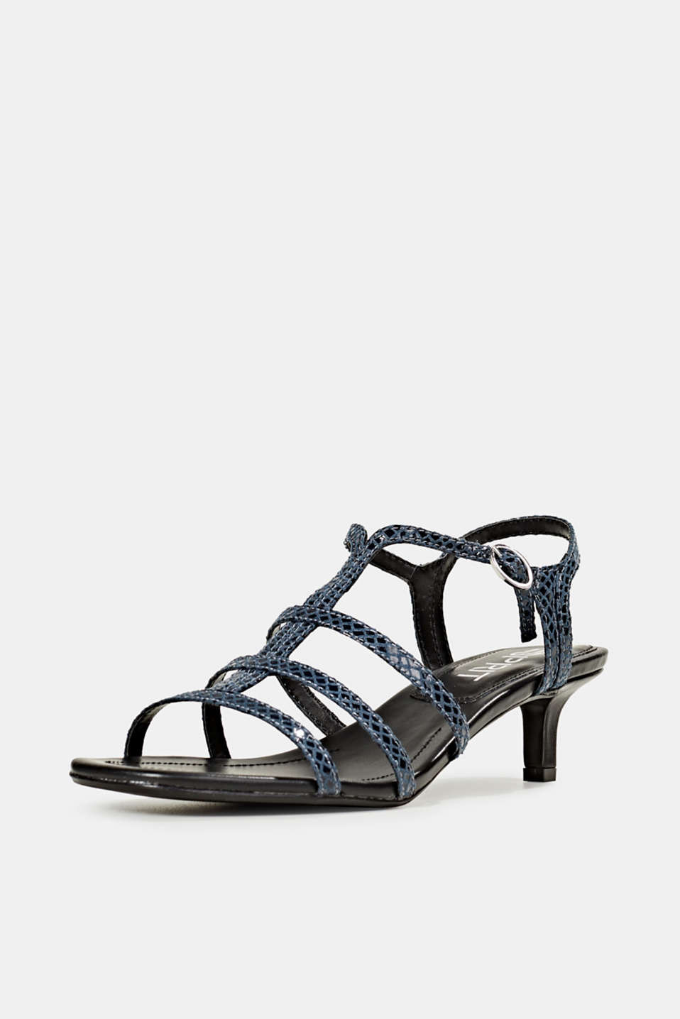 Shiny sandals in faux crocodile skin leather, NAVY, detail image number 2