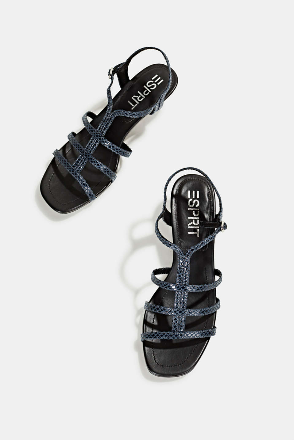 Shiny sandals in faux crocodile skin leather, NAVY, detail image number 5