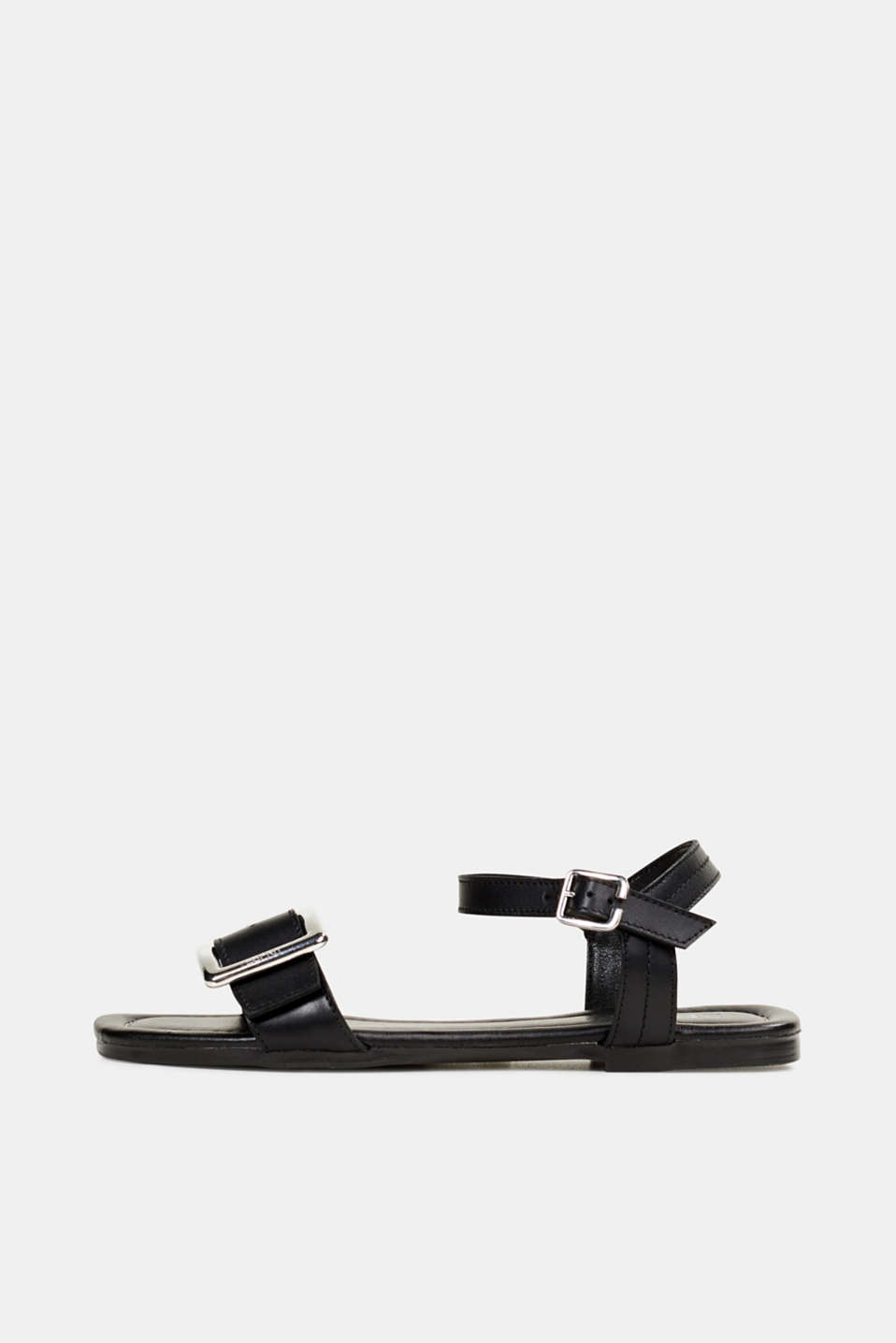 Leather sandals with buckles, BLACK, detail image number 0