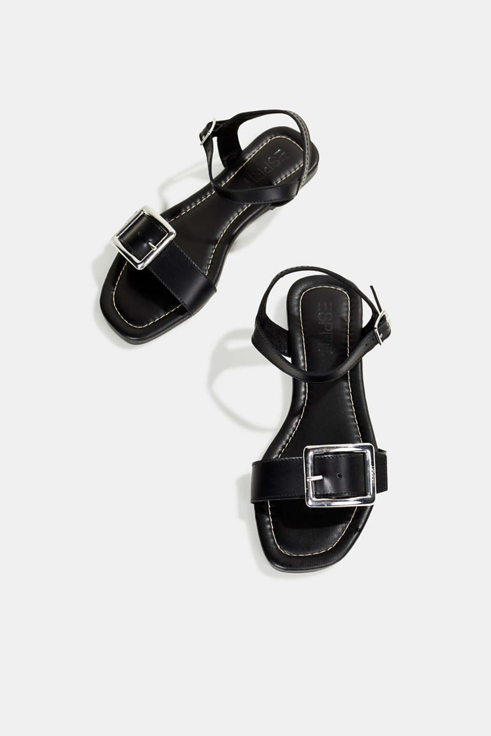 Leather sandals with buckles, BLACK, detail image number 1