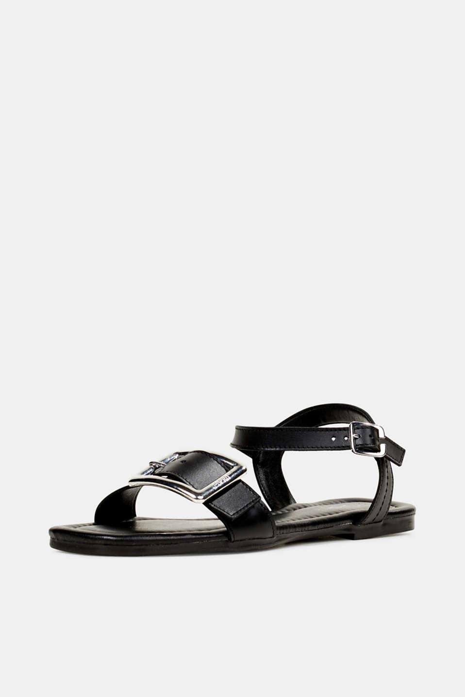 Leather sandals with buckles, BLACK, detail image number 2