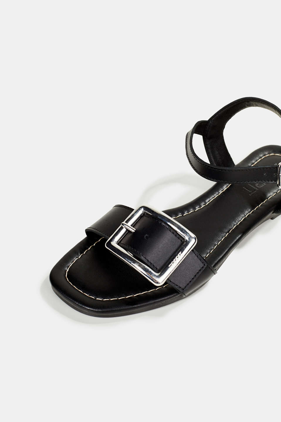 Leather sandals with buckles, BLACK, detail image number 4