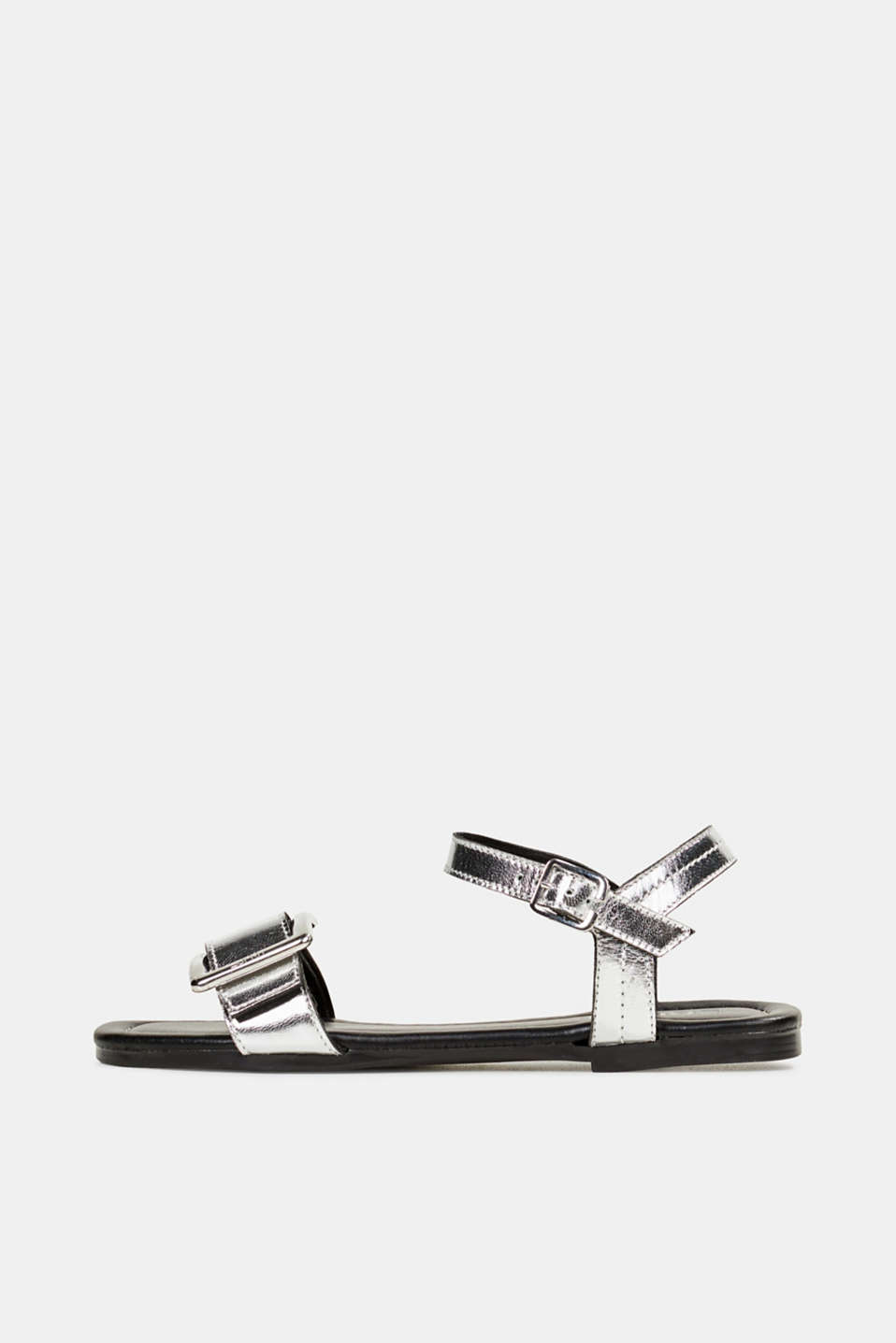 Leather sandals with buckles, SILVER, detail image number 0