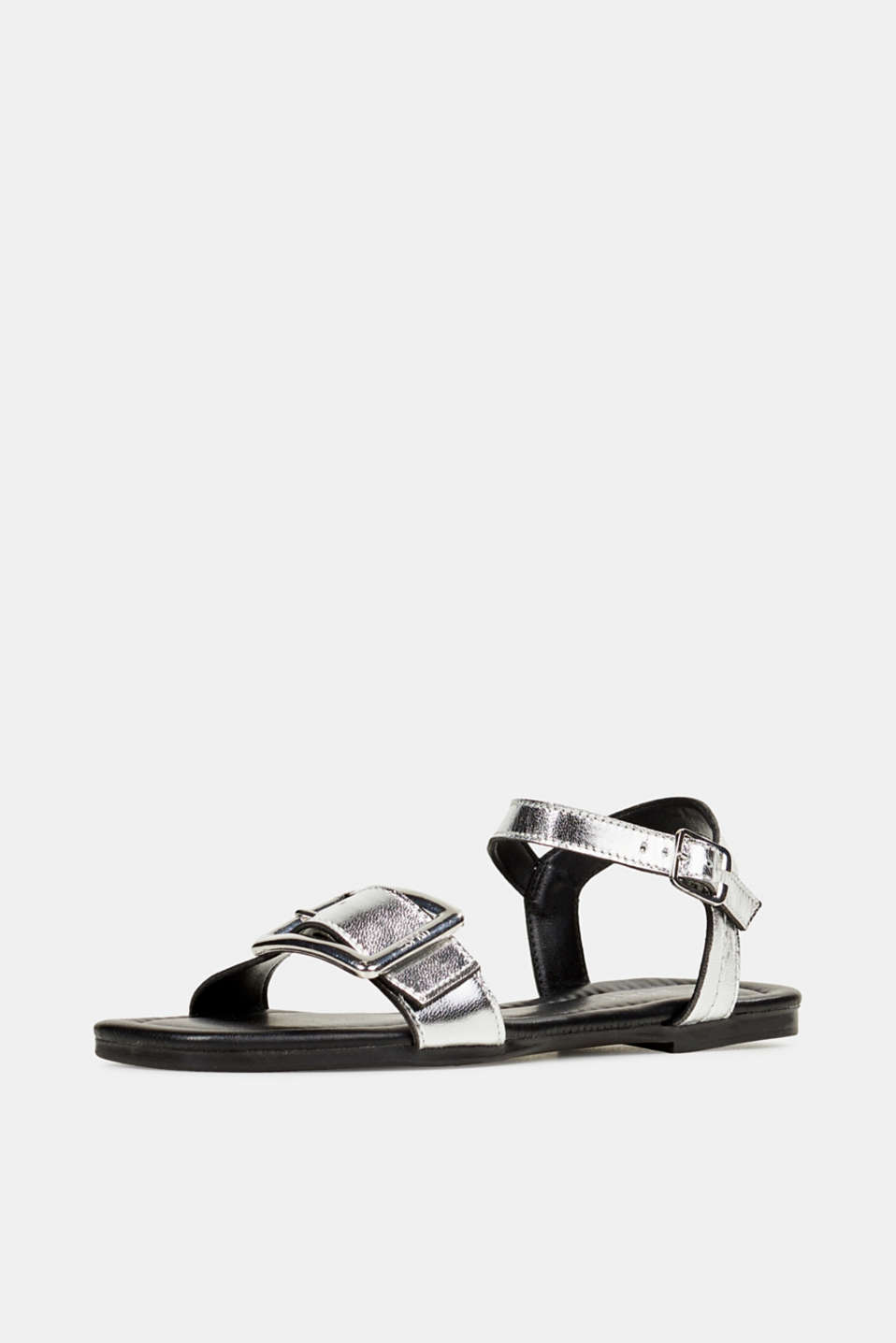 Leather sandals with buckles, SILVER, detail image number 2