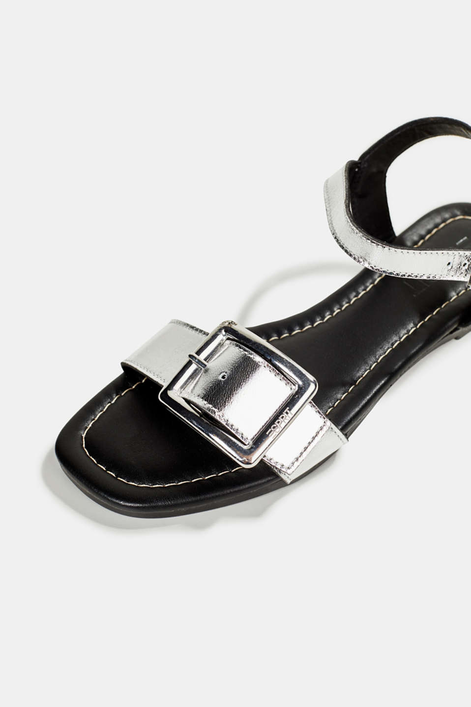 Leather sandals with buckles, SILVER, detail image number 4