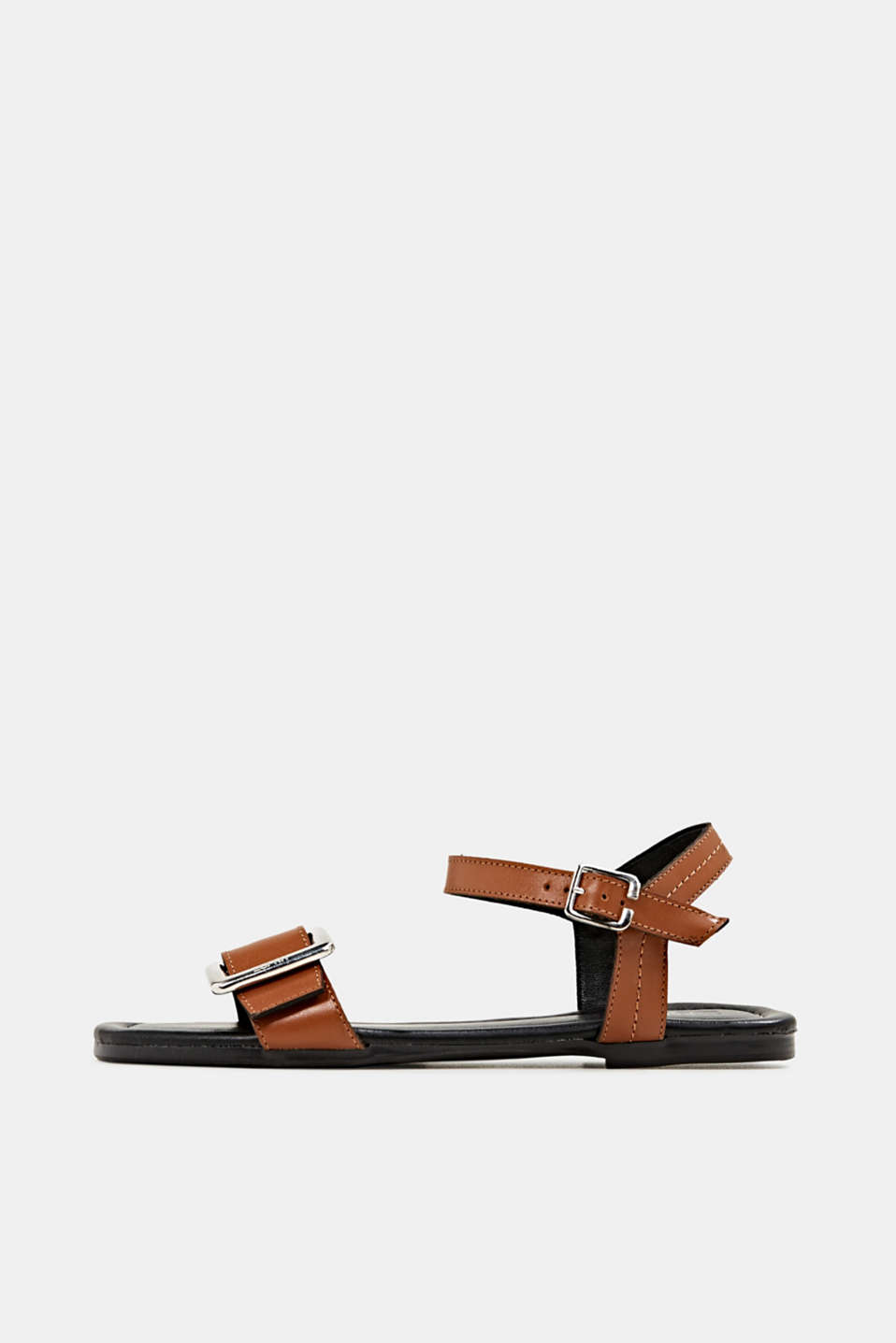 Esprit - Made of leather: sandals with a metal buckle