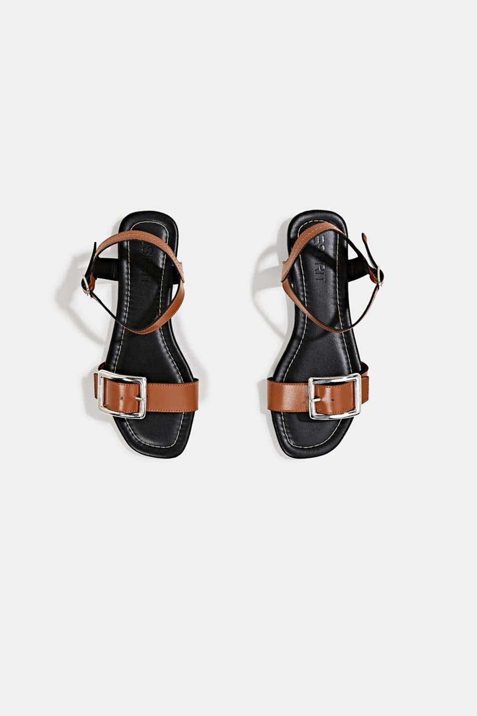 Leather sandals with buckles, CARAMEL, detail image number 1