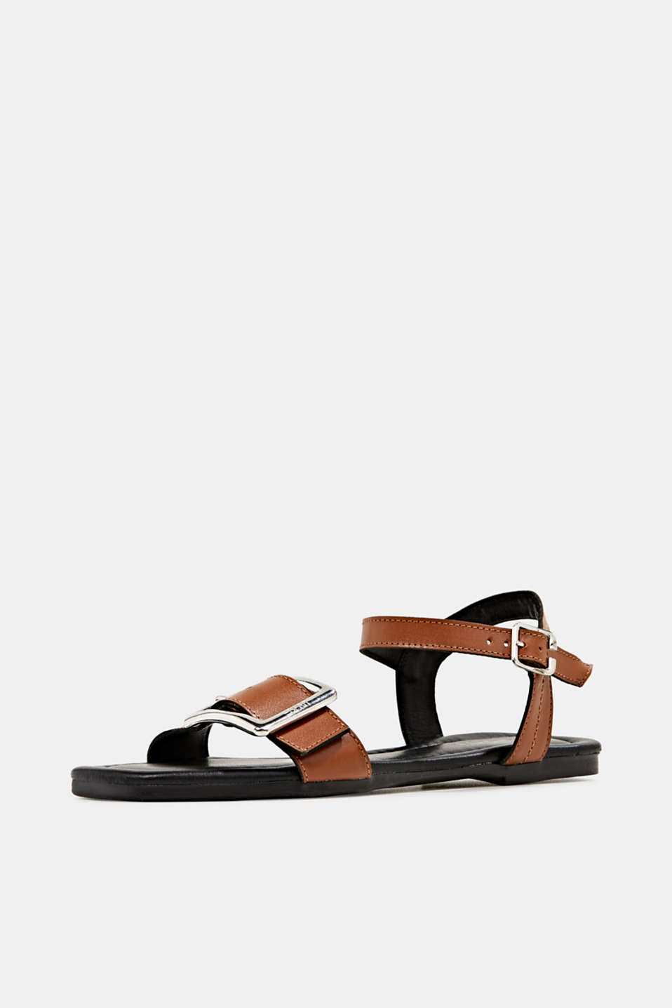 Leather sandals with buckles, CARAMEL, detail image number 2