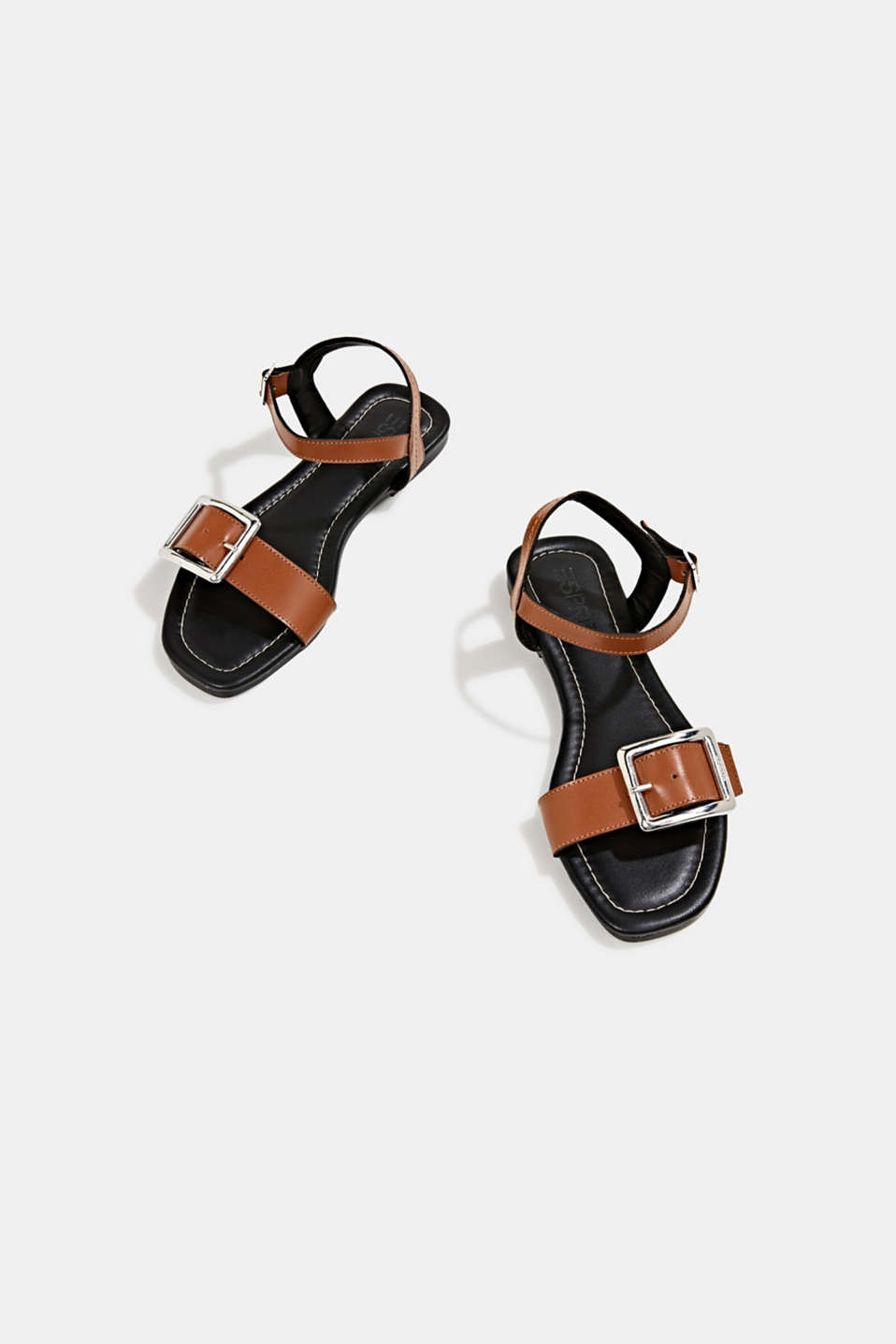 Leather sandals with buckles, CARAMEL, detail image number 6