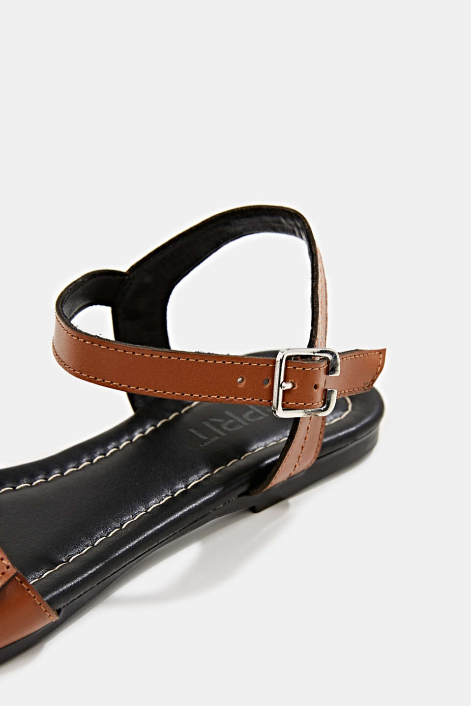 Leather sandals with buckles, CARAMEL, detail image number 5