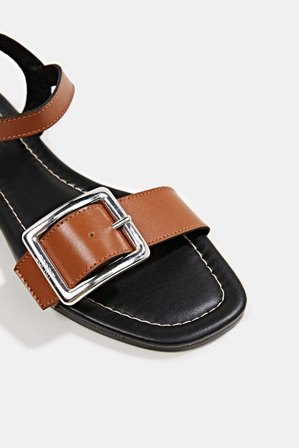 Leather sandals with buckles, CARAMEL, detail image number 4
