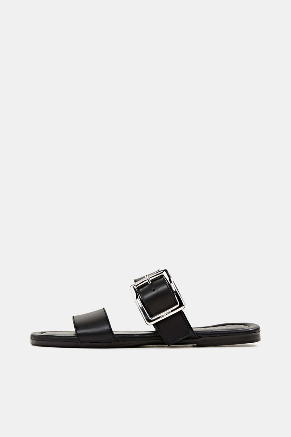 Leather mules with buckles, BLACK, detail image number 0