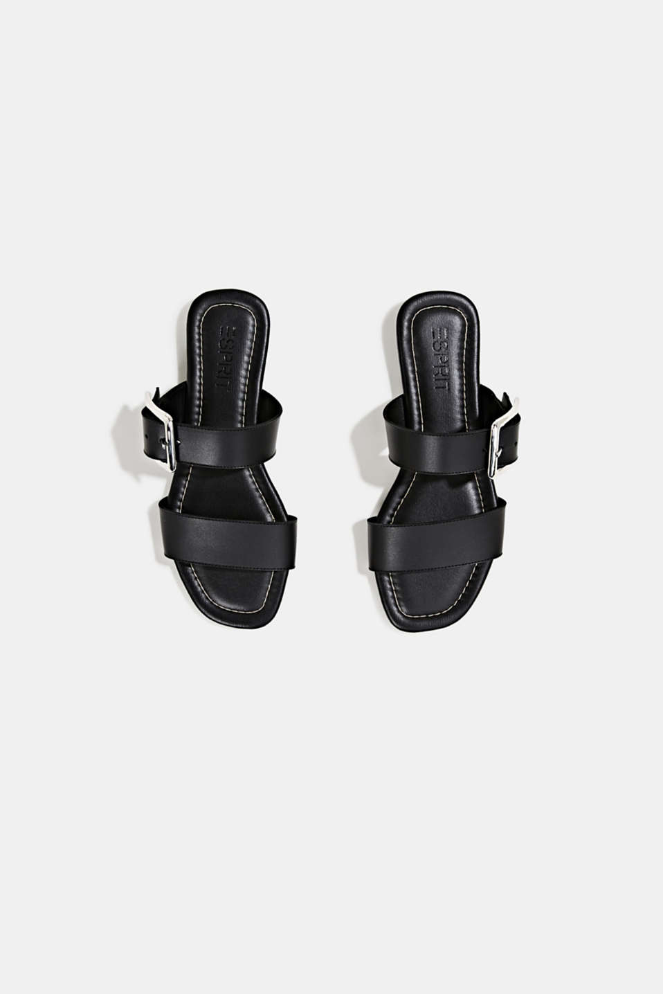 Leather mules with buckles, BLACK, detail image number 1