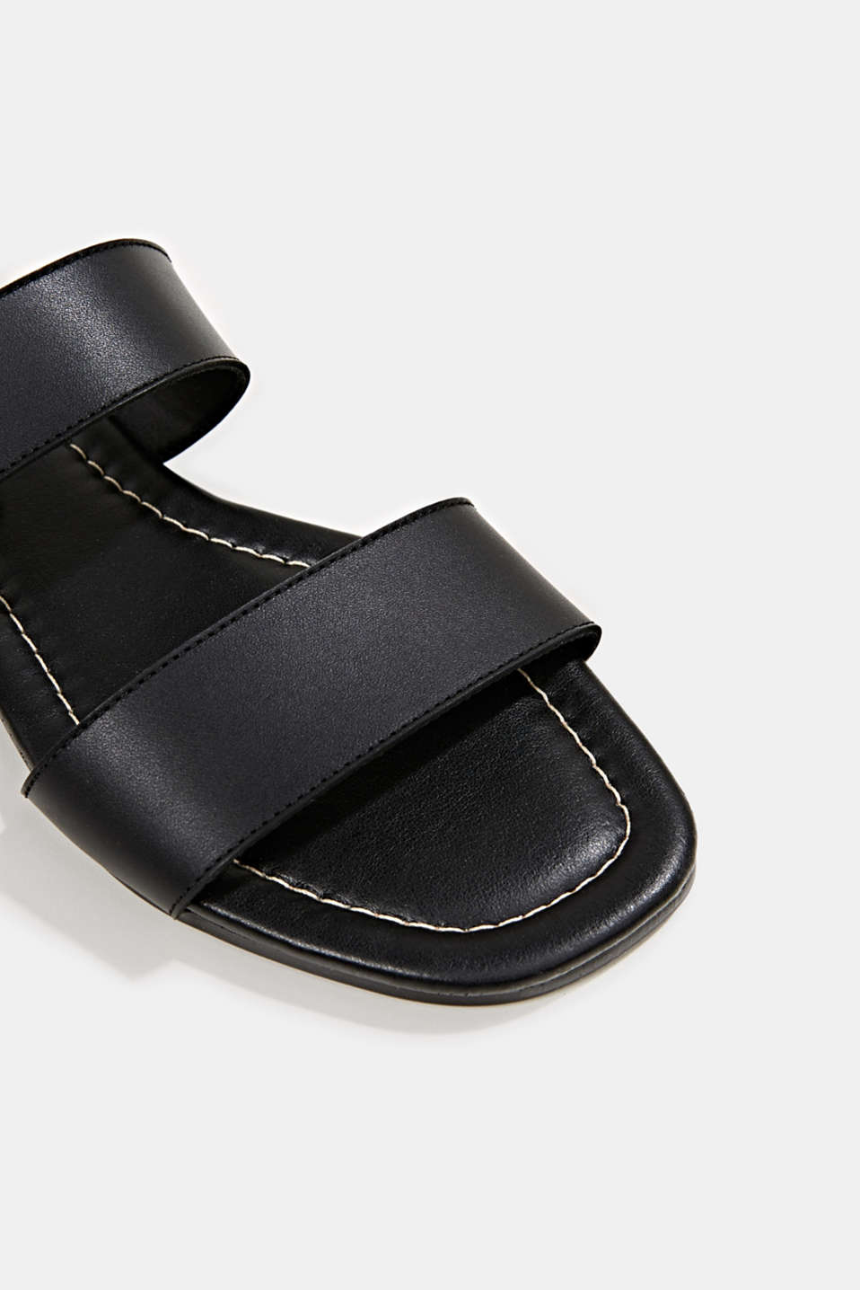Leather mules with buckles, BLACK, detail image number 5