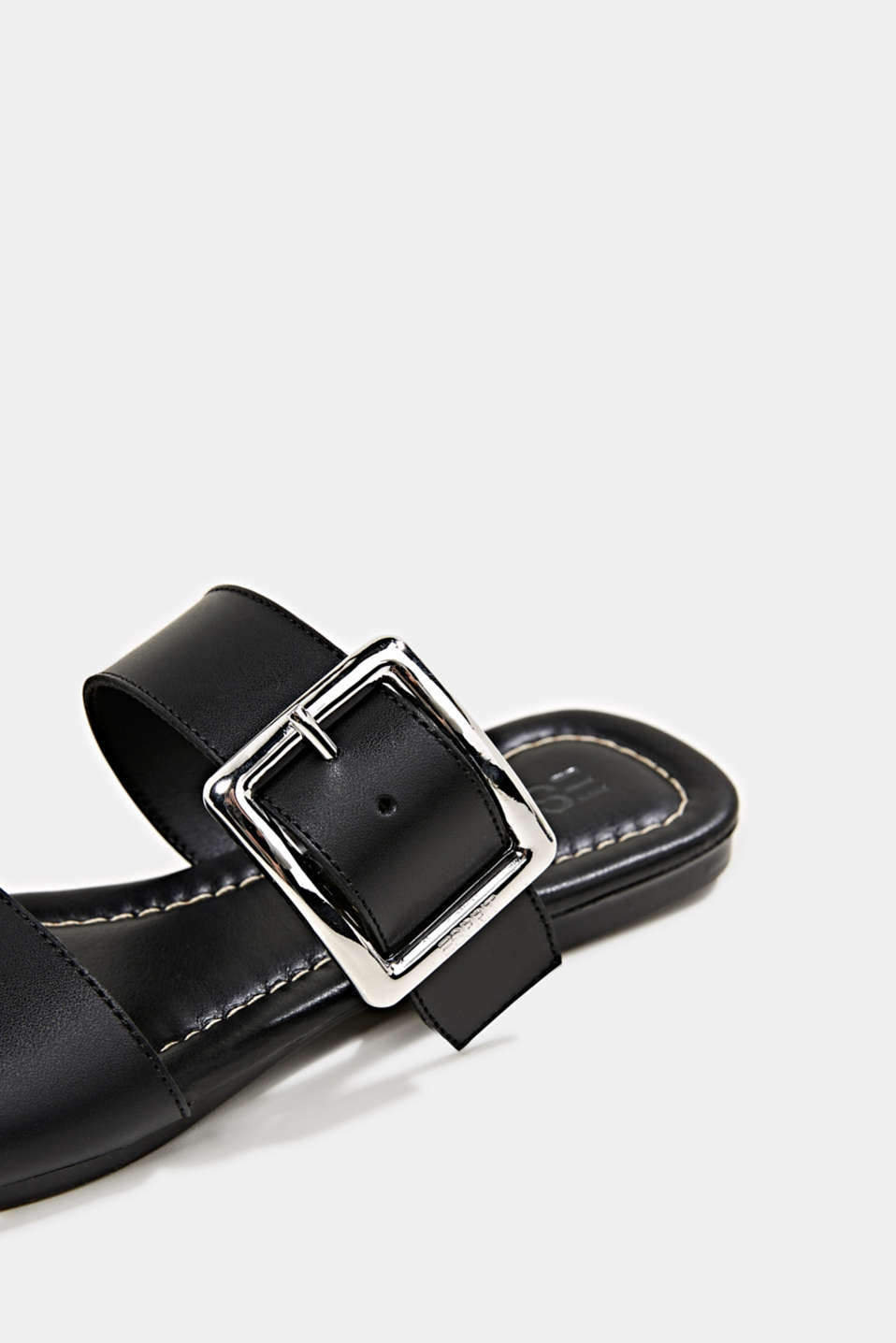 Leather mules with buckles, BLACK, detail image number 4