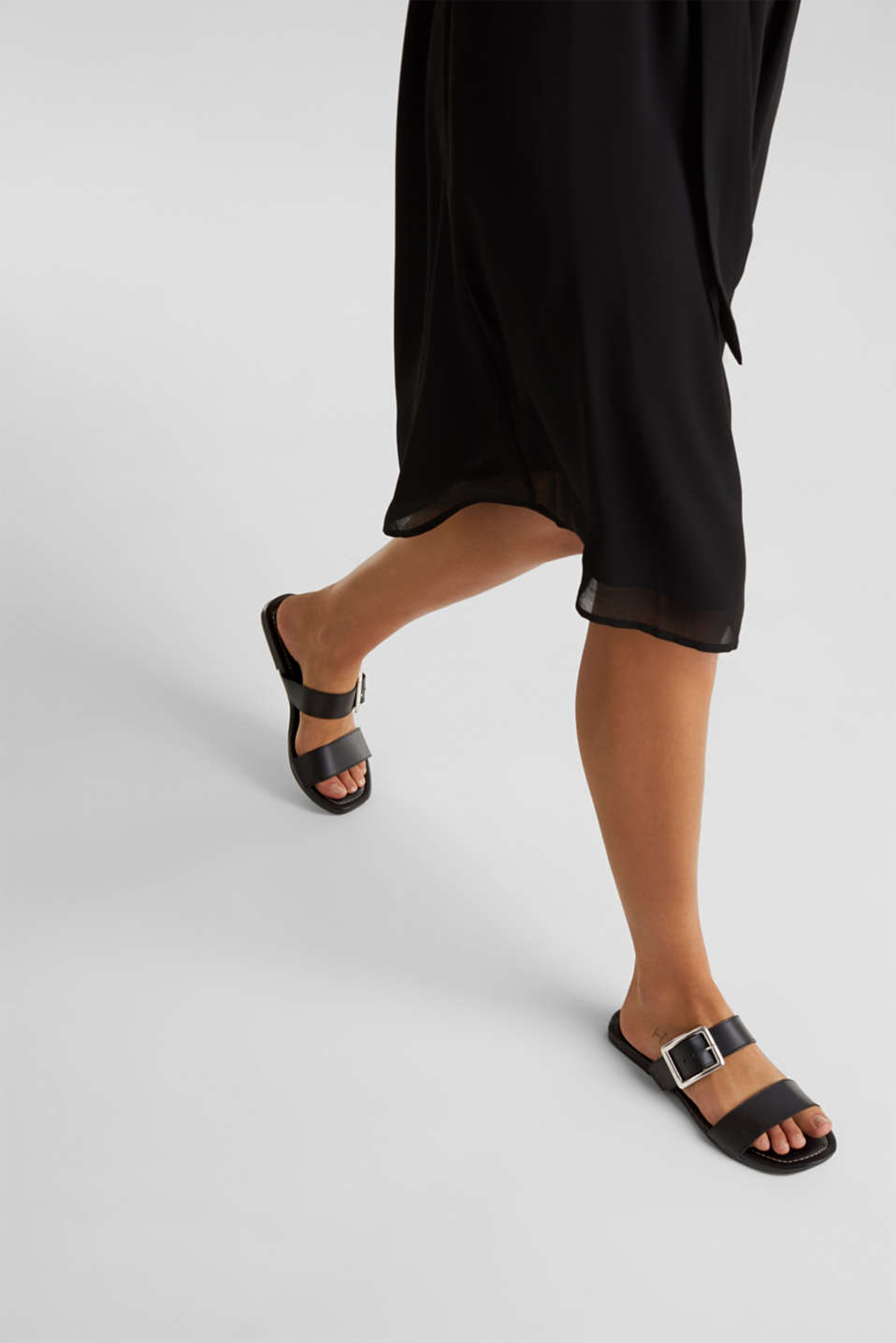 Leather mules with buckles, BLACK, detail image number 3
