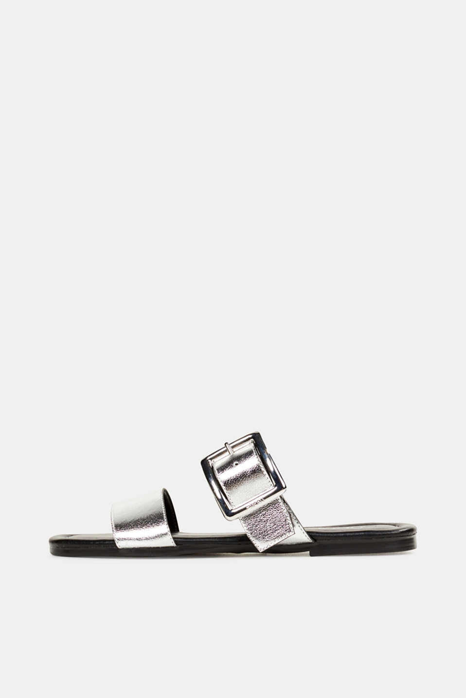 Leather mules with buckles, SILVER, detail image number 0