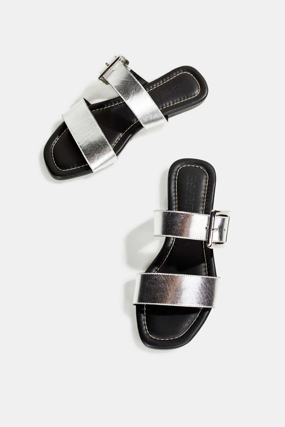 Leather mules with buckles, SILVER, detail image number 1