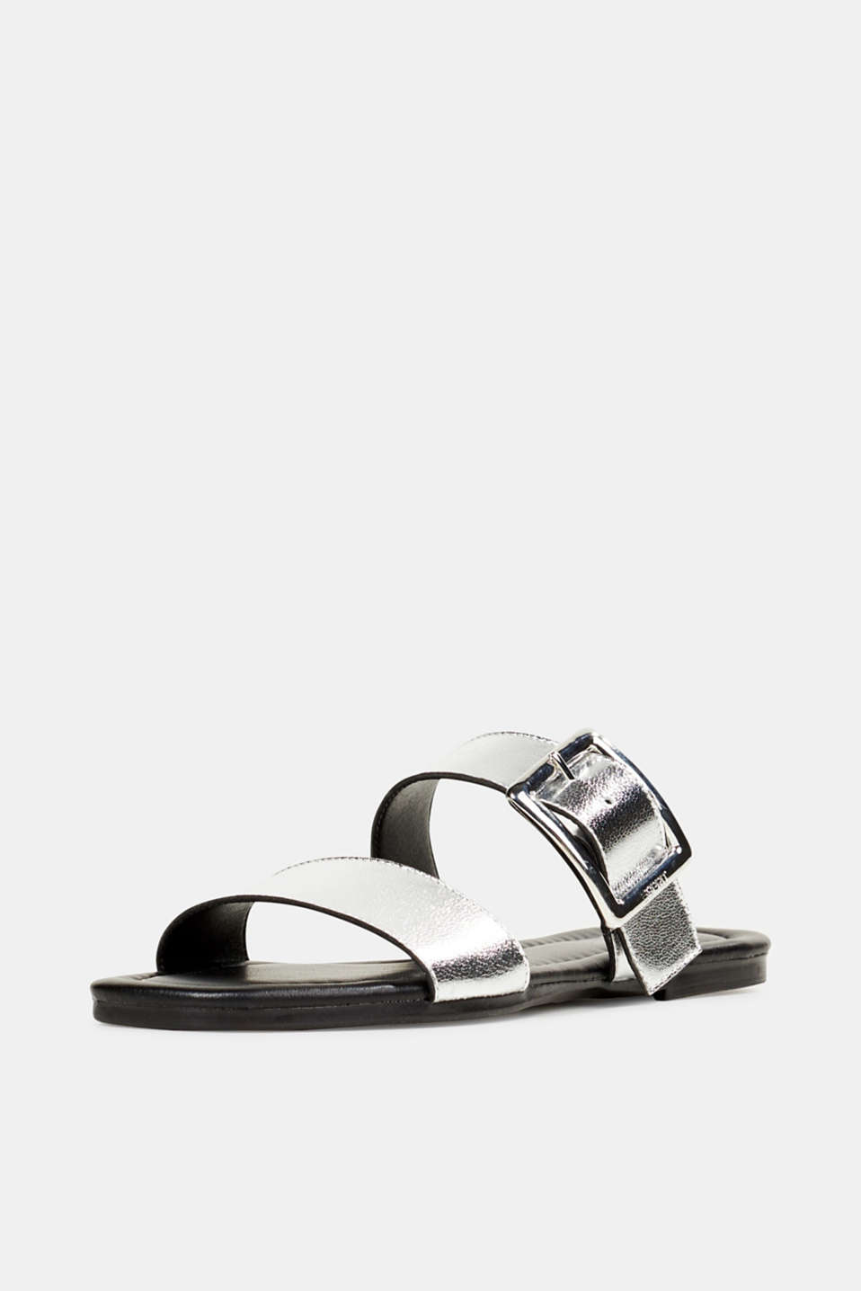 Leather mules with buckles, SILVER, detail image number 2
