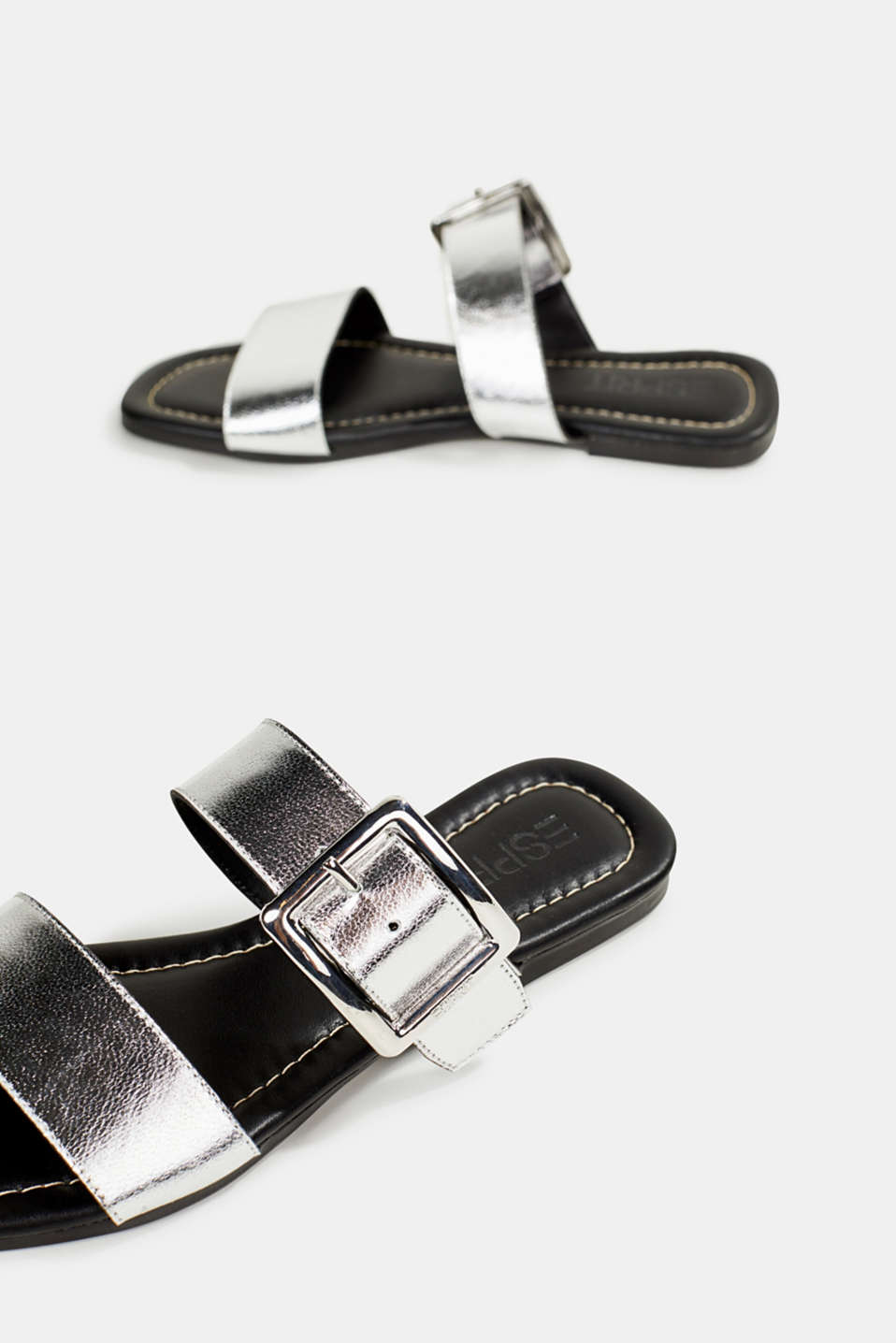 Leather mules with buckles, SILVER, detail image number 5