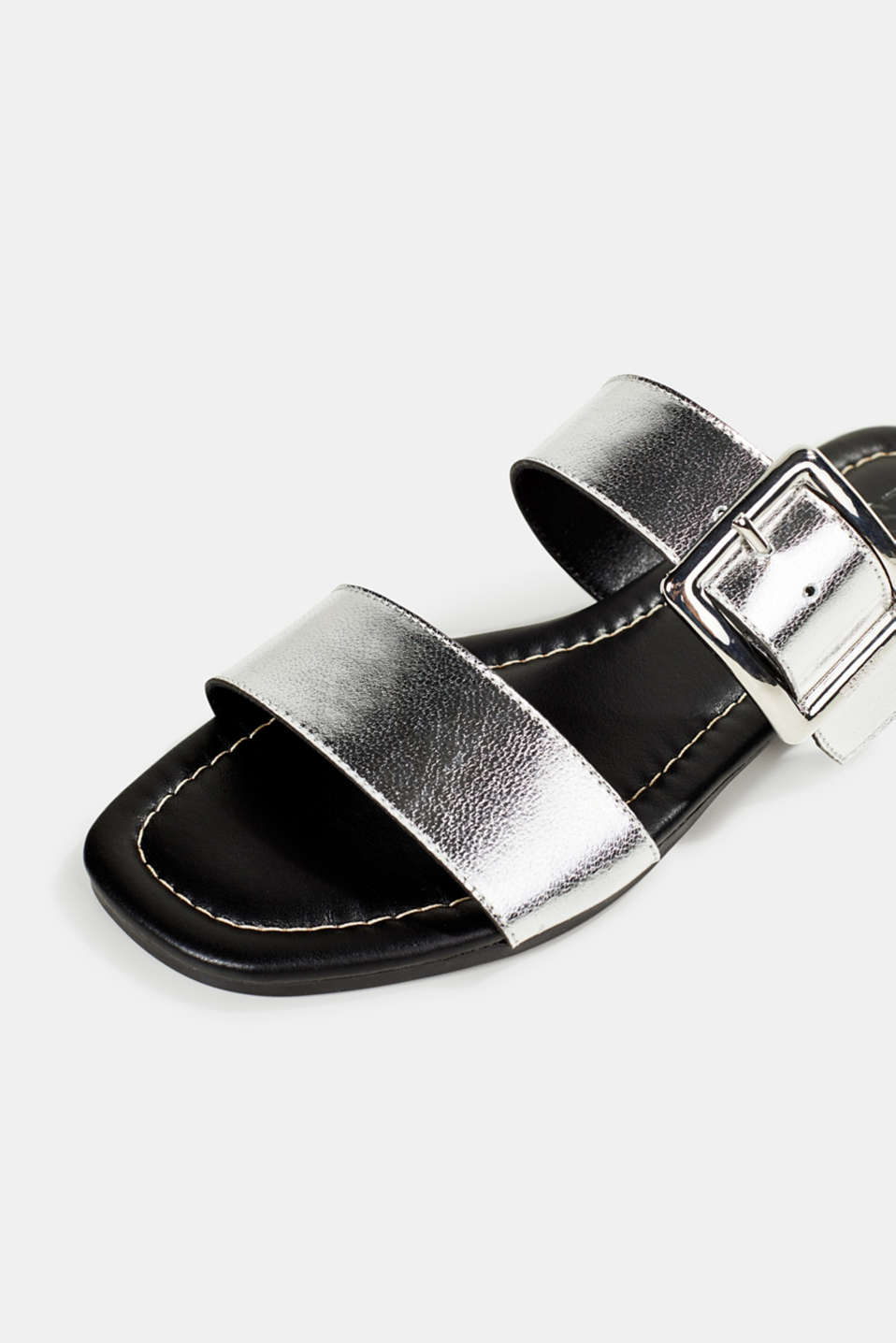 Leather mules with buckles, SILVER, detail image number 4
