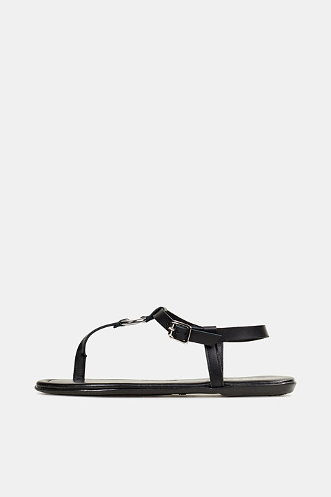 Thong sandals with ring, leather
