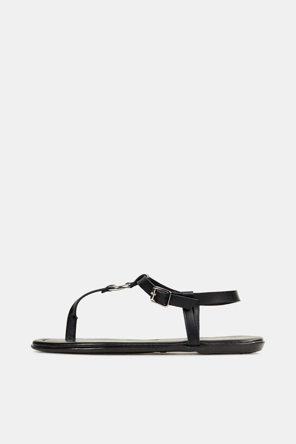 Leather thong sandals, BLACK, detail image number 0
