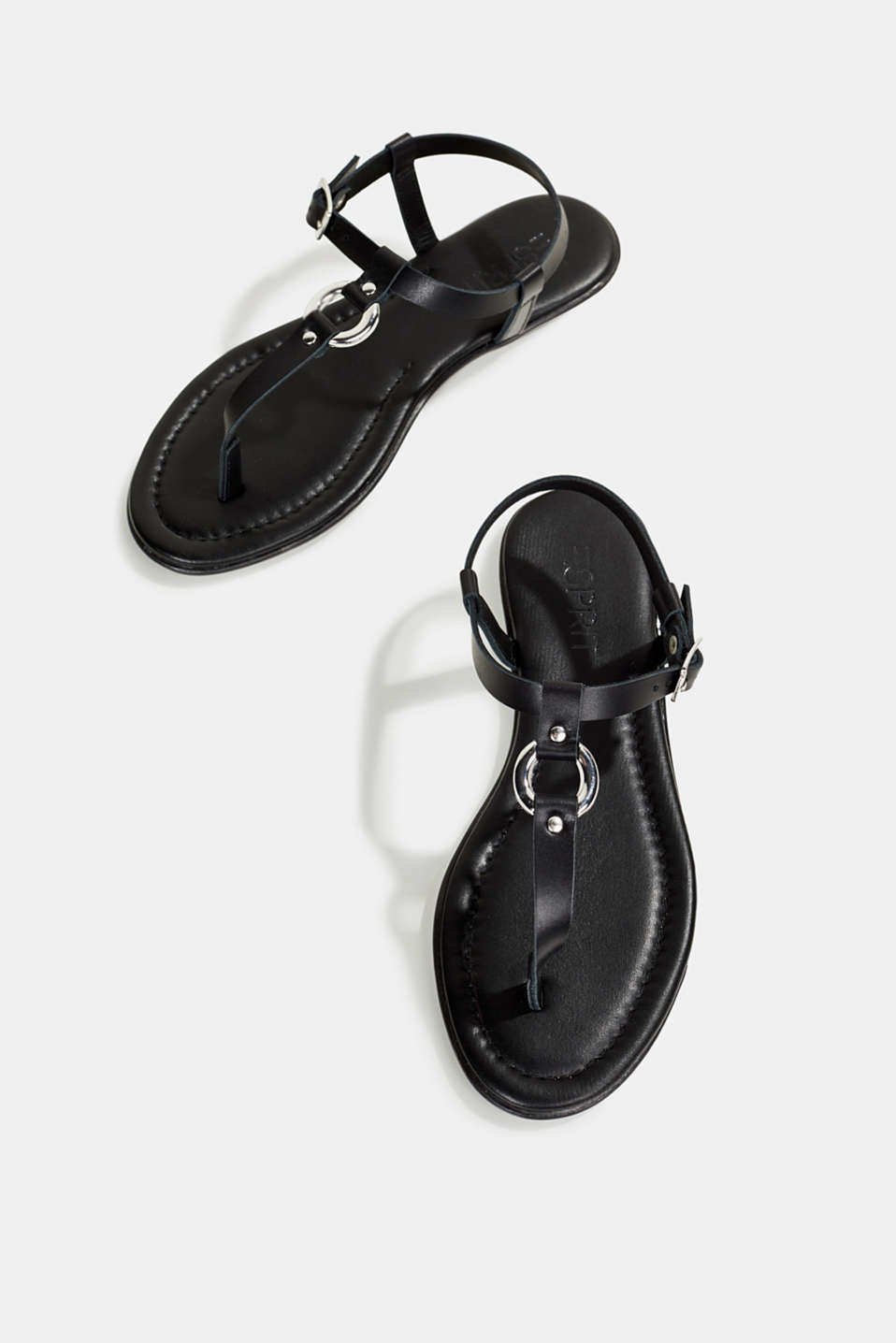 Leather thong sandals, BLACK, detail image number 1
