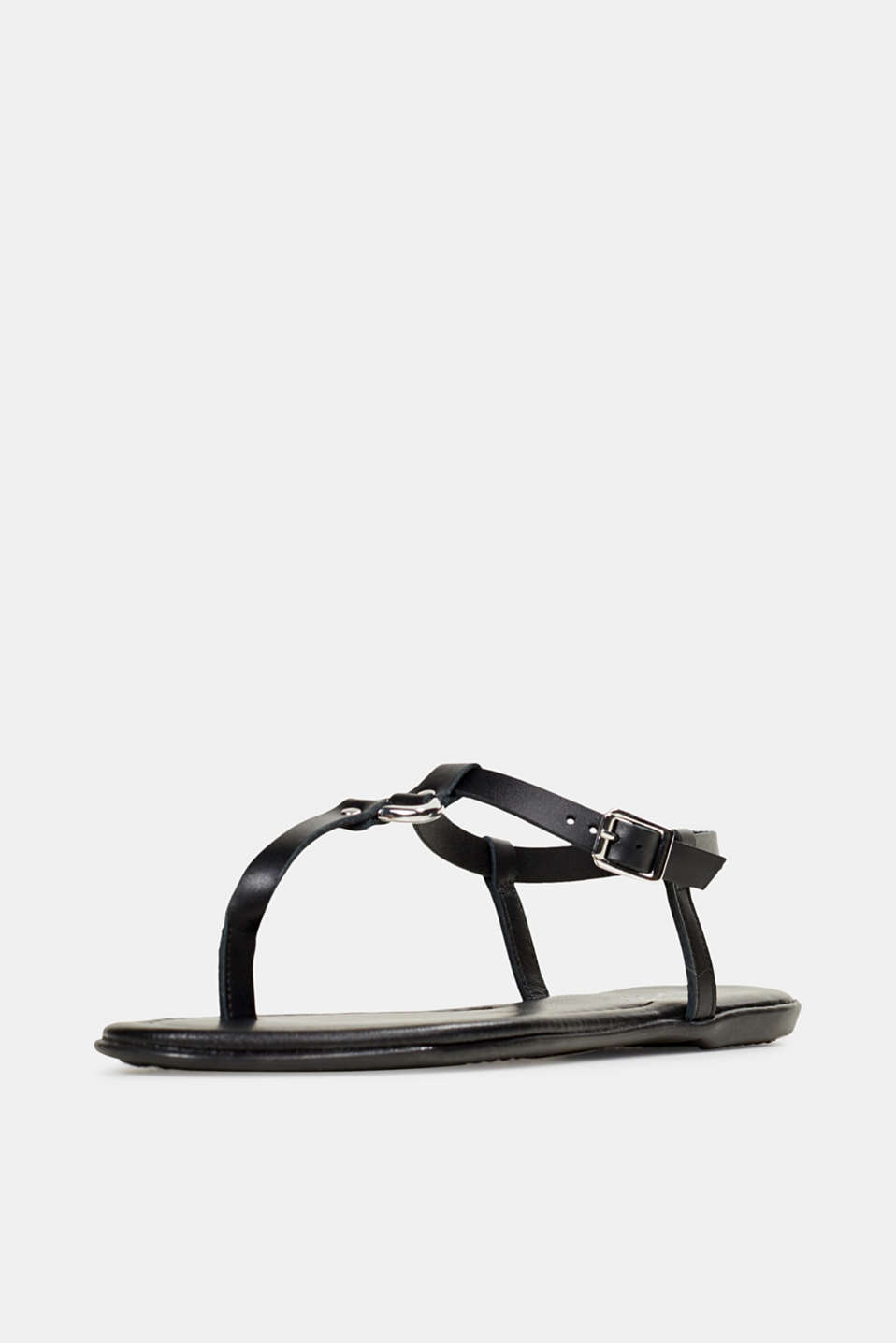 Leather thong sandals, BLACK, detail image number 2