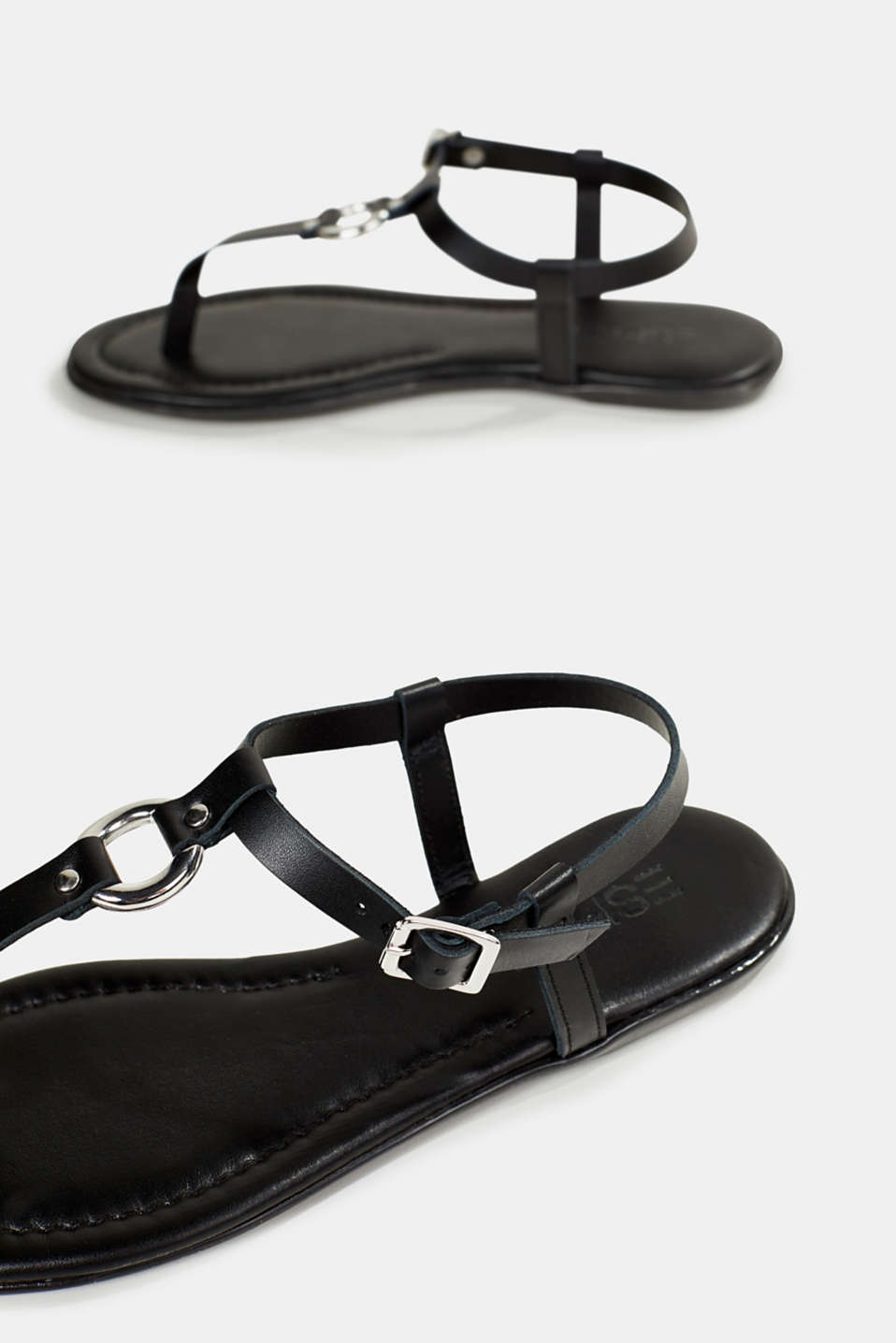 Leather thong sandals, BLACK, detail image number 5