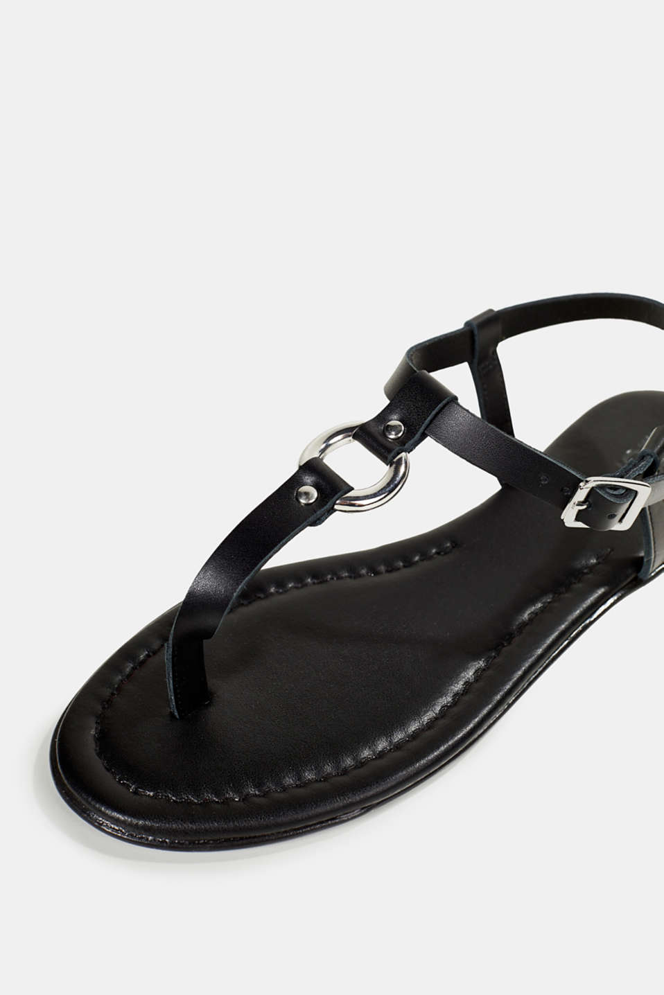 Leather thong sandals, BLACK, detail image number 4