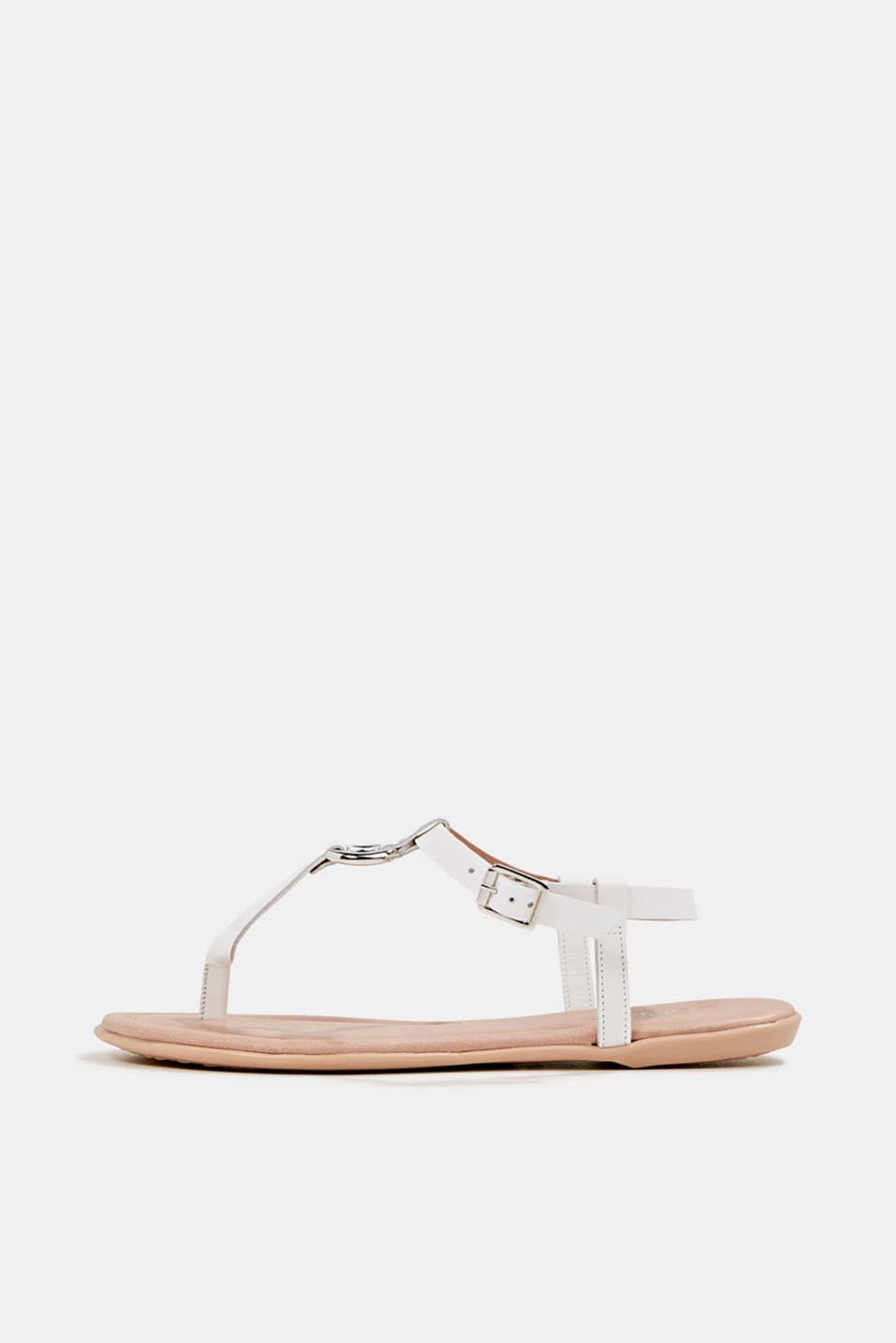 Leather thong sandals, WHITE, detail image number 0