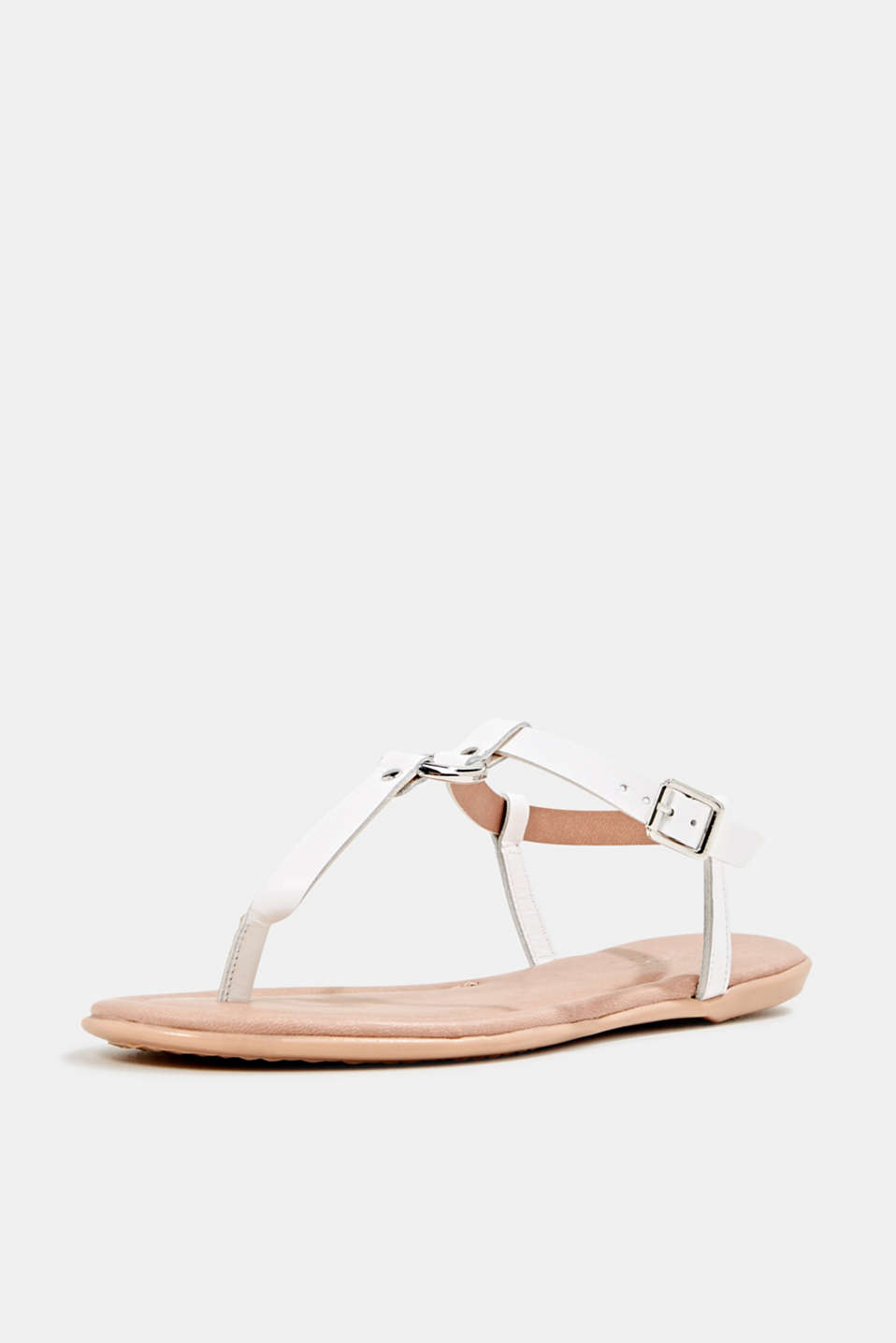 Leather thong sandals, WHITE, detail image number 2