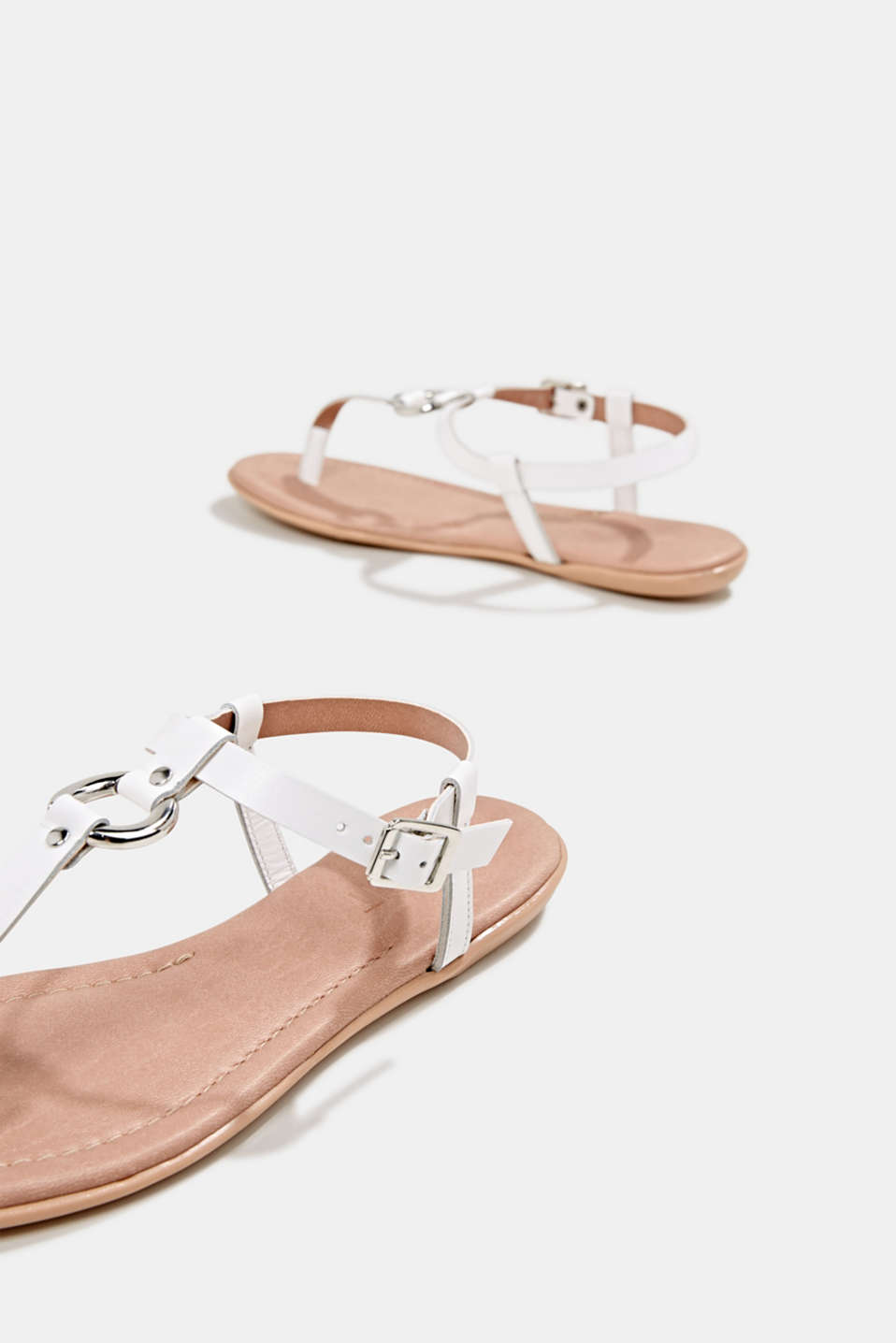 Leather thong sandals, WHITE, detail image number 5