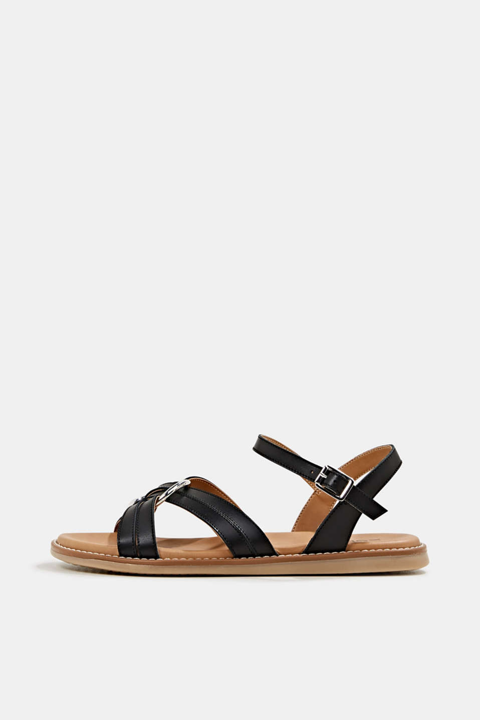 Sandals with crossed-over straps, BLACK, detail image number 0