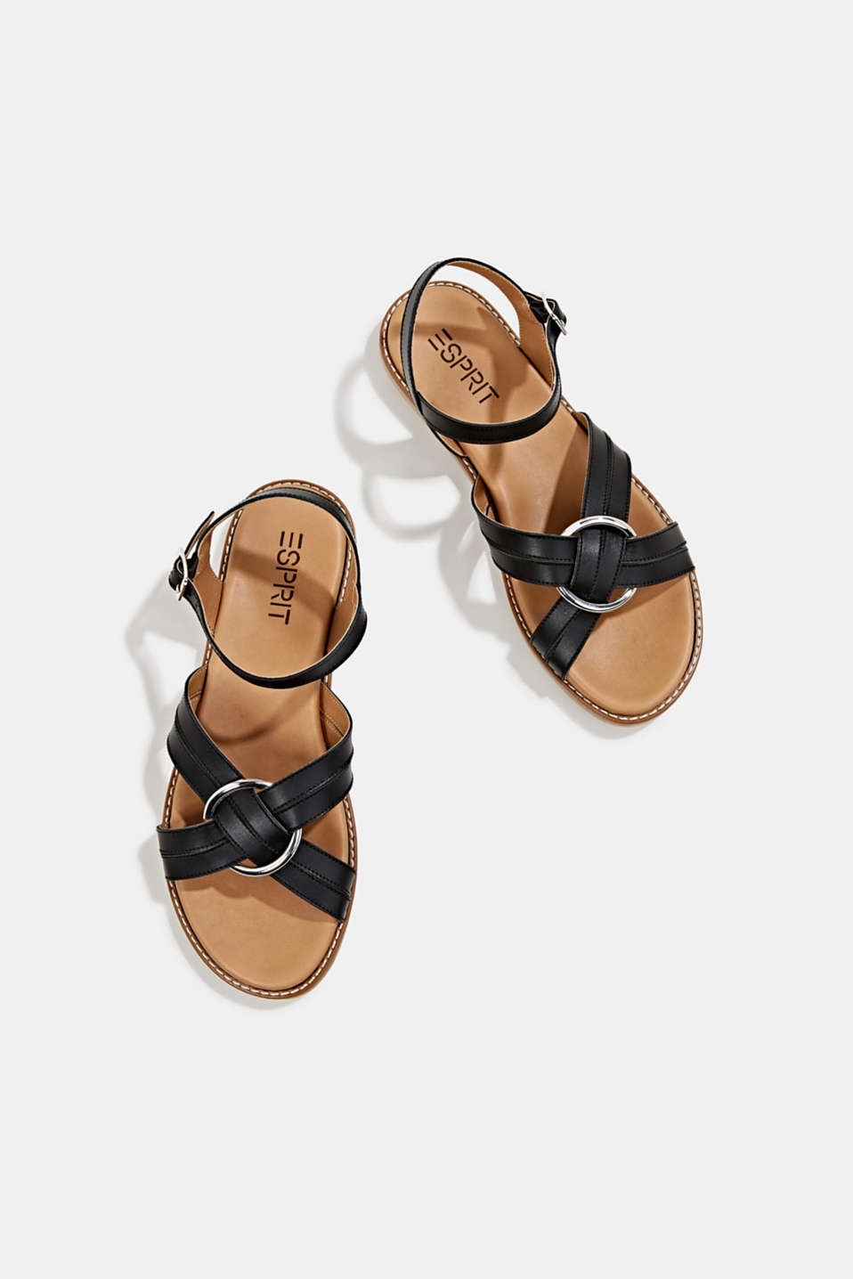 Sandals with crossed-over straps, BLACK, detail image number 1