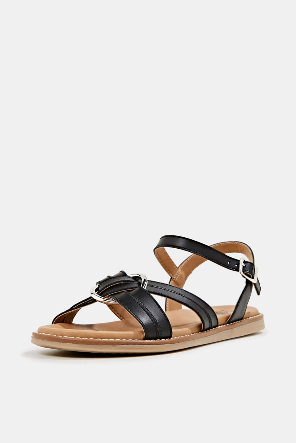 Sandals with crossed-over straps, BLACK, detail image number 2