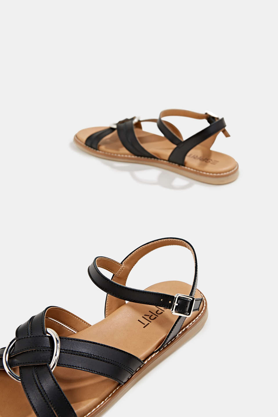 Sandals with crossed-over straps, BLACK, detail image number 6
