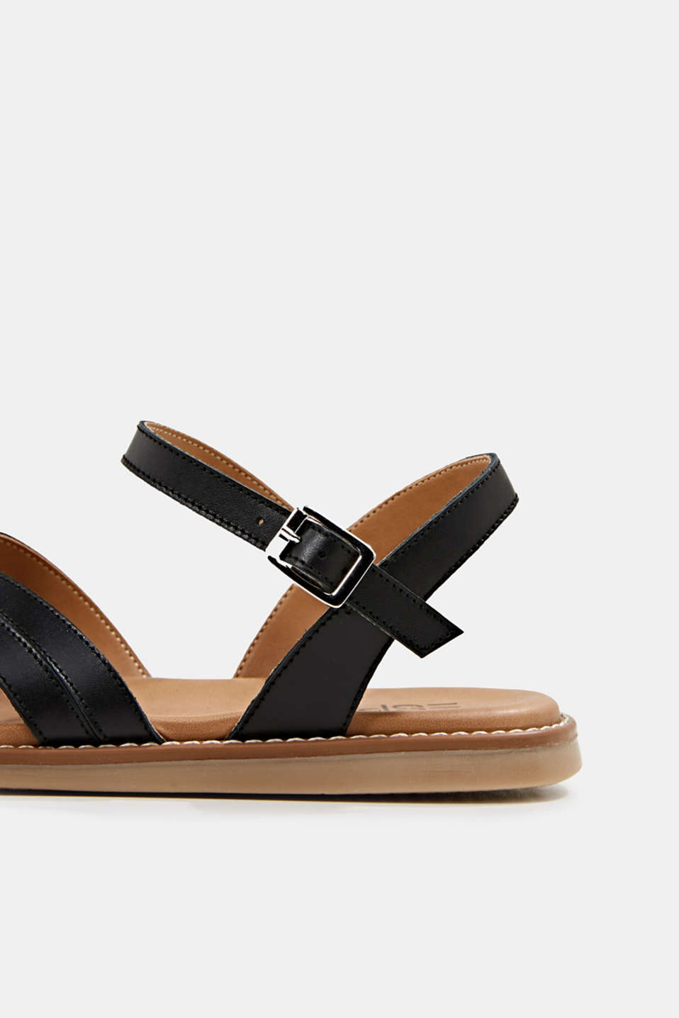 Sandals with crossed-over straps, BLACK, detail image number 4