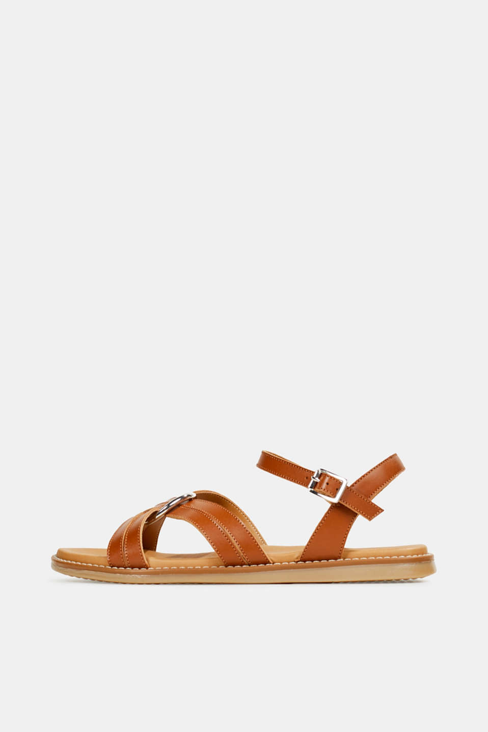 Sandals with crossed-over straps, CARAMEL, detail image number 0