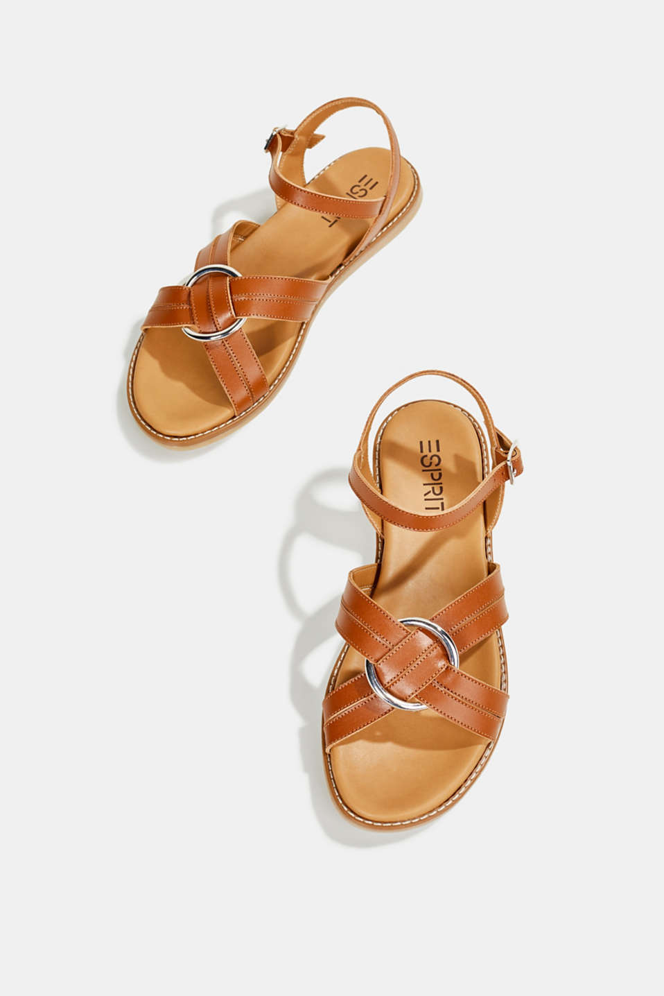 Sandals with crossed-over straps, CARAMEL, detail image number 1