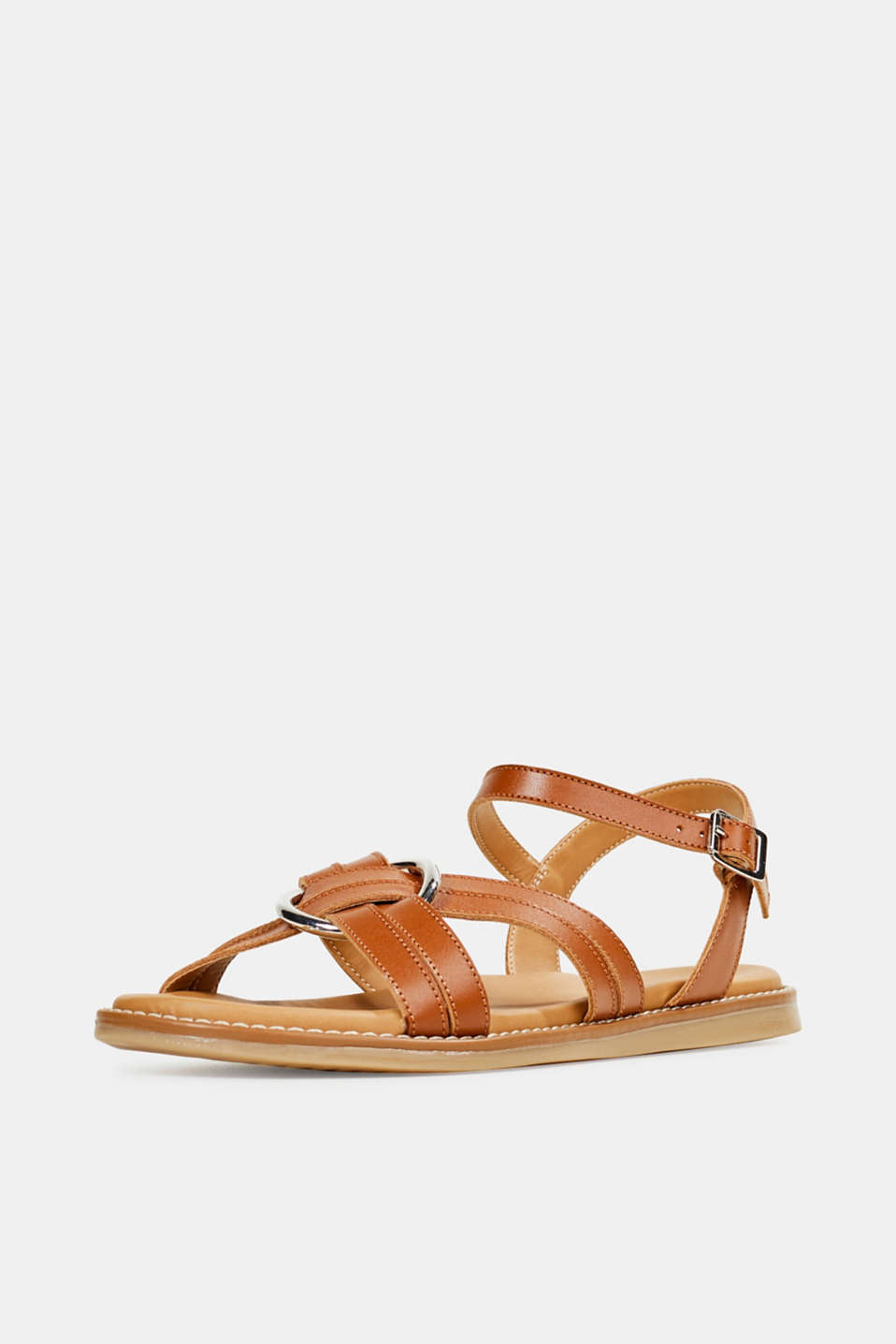 Sandals with crossed-over straps, CARAMEL, detail image number 2